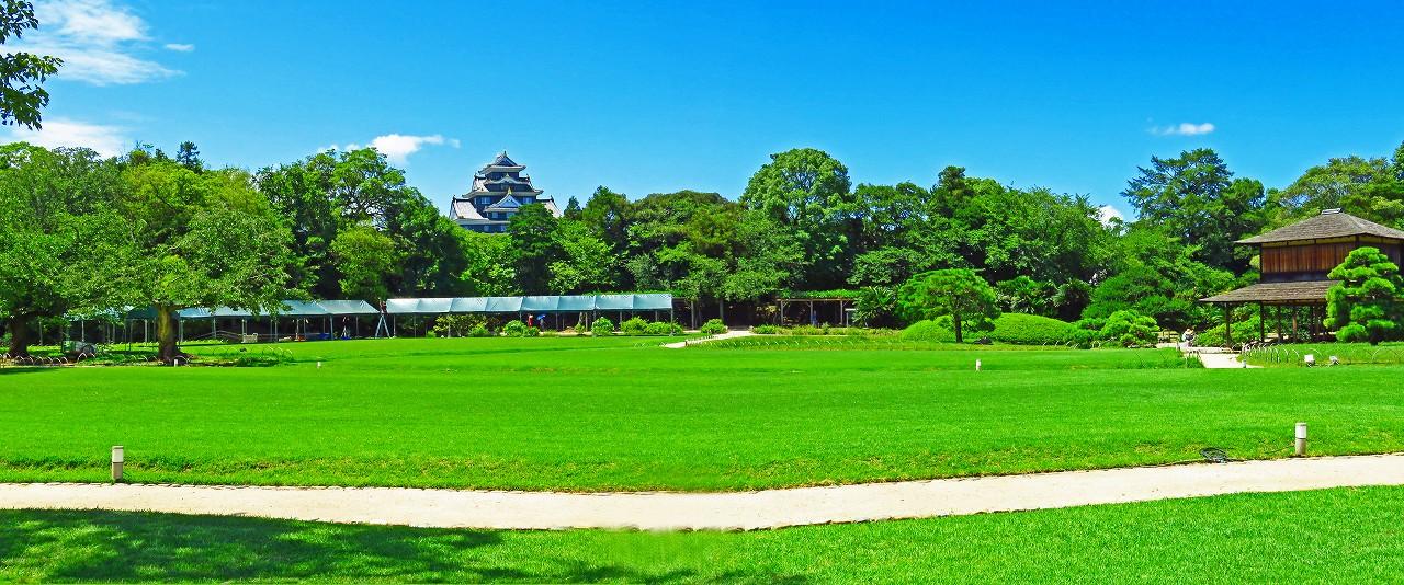 20170721 後楽園今日の園内イベント広場幻想庭園売店小屋ワイド風景 (1)