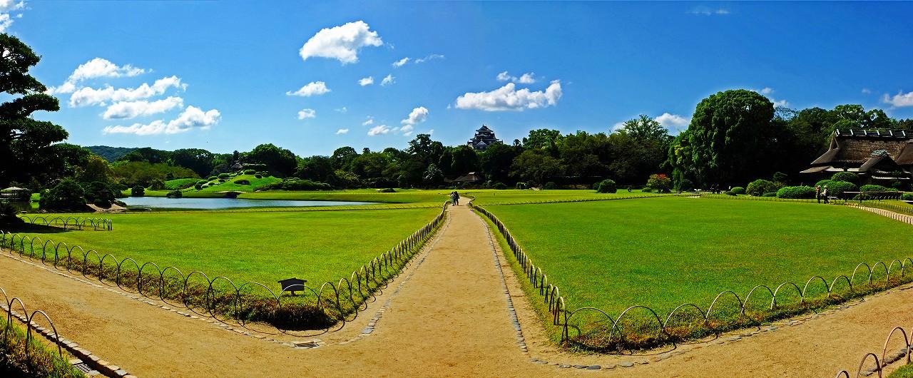 20170908 後楽園今日の園内入口から眺めた園内ワイド風景 (1)