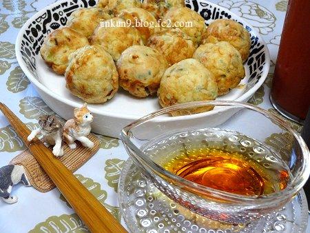 なんとなく08-09 8月9日 冷た~い ふわふわ豆腐のまんまるボールたこ焼き風を 冷ダレで 1