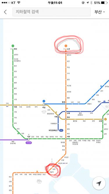 釜山のバスターミナル直結のノポ駅。