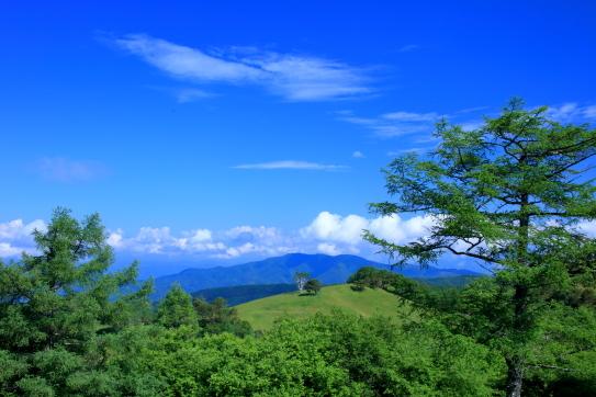 碧空に守屋山と雲