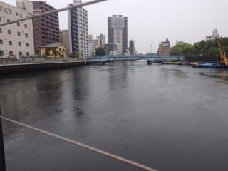 雨の木津川