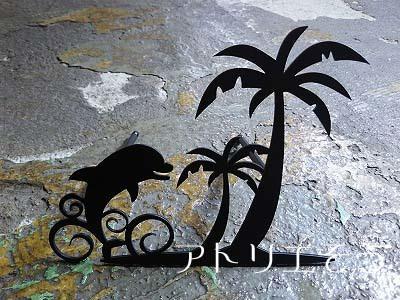 イルカ+ヤシの木壁飾り