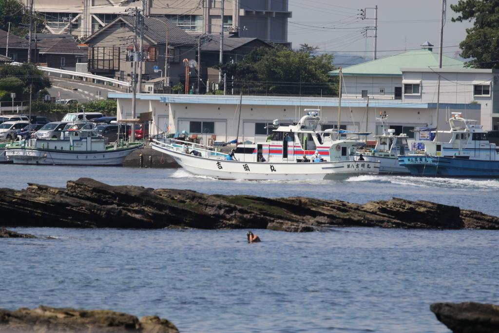 走水の漁港に釣り船が戻ってきた_1