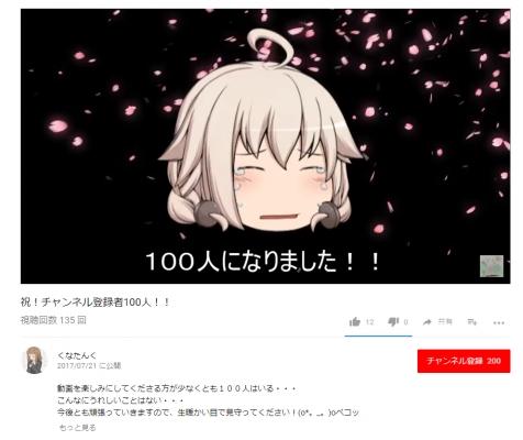 チャンネル登録者200人突破