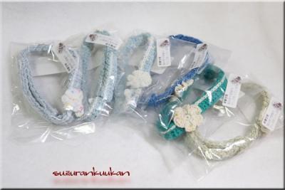 にゃんにゃんBOX用 花付きゆるゆる編み首輪