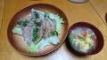 サバの竜田揚げ レタスとトマトの玉子スープ 20170805