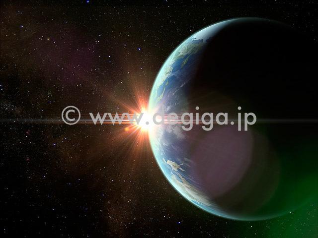 CGタイトル:EARTH UP から地球と太陽光