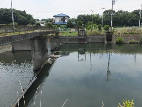 目久尻川用田橋の取水施設・転倒堰