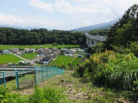 小沢川左岸段丘崖から小沢川を望む