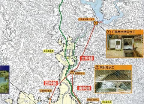 金山ダム関連現況施設図