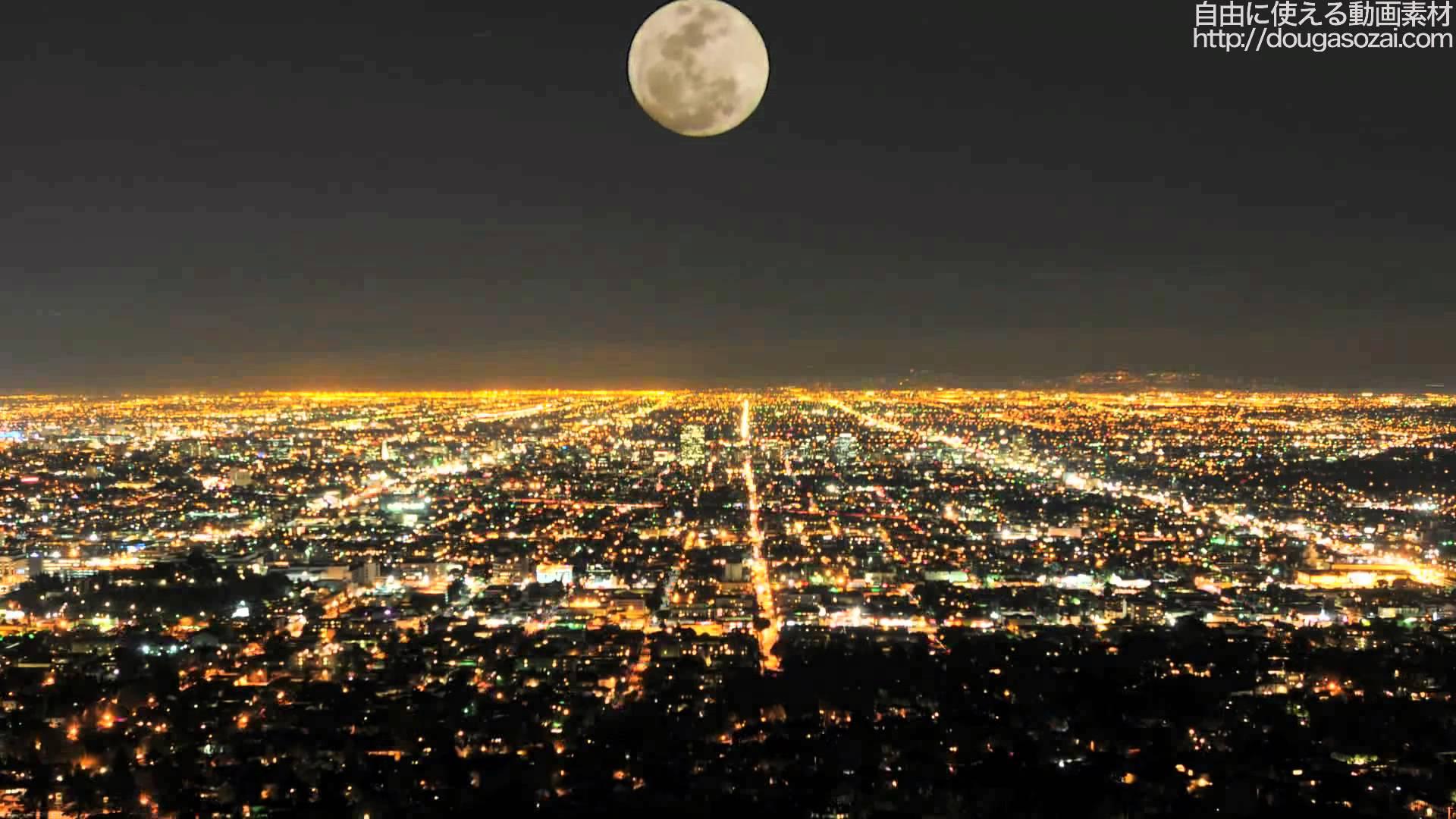 フリー写真 ロサンジェルスの満月