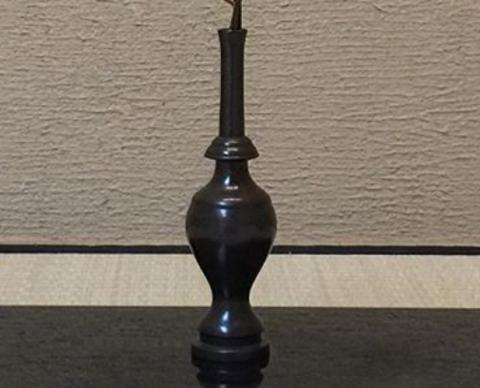 0 kk 古銅 請来型水瓶a 山芍薬の花殻 野菊