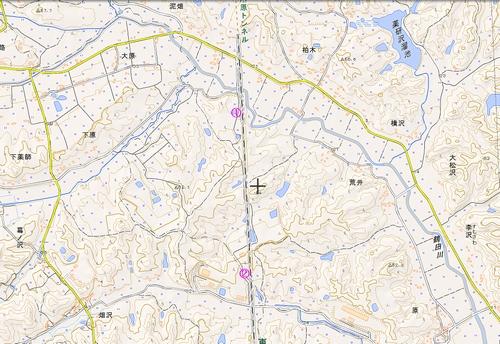 国土地理院地図Web版仙台ー古川間ポイント入りリサイズ