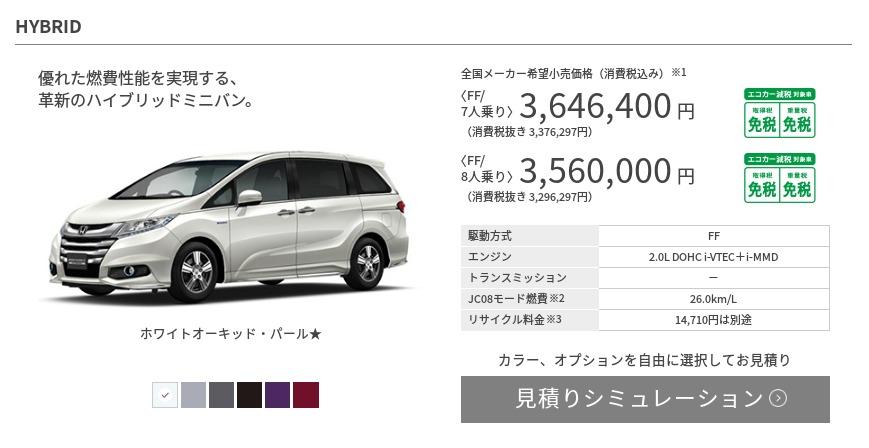 ハイブリッド車 タイプ・価格 オデッセイ Honda