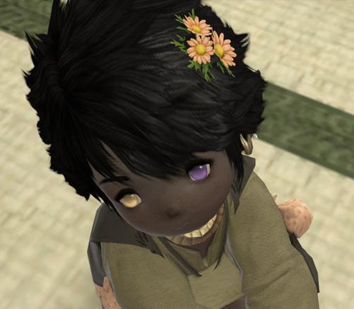 花飾りをつけた黒ララ