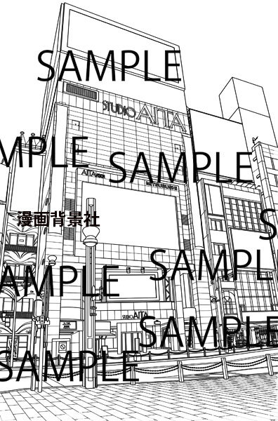 漫画背景素材「新宿アルタ前」イラスト