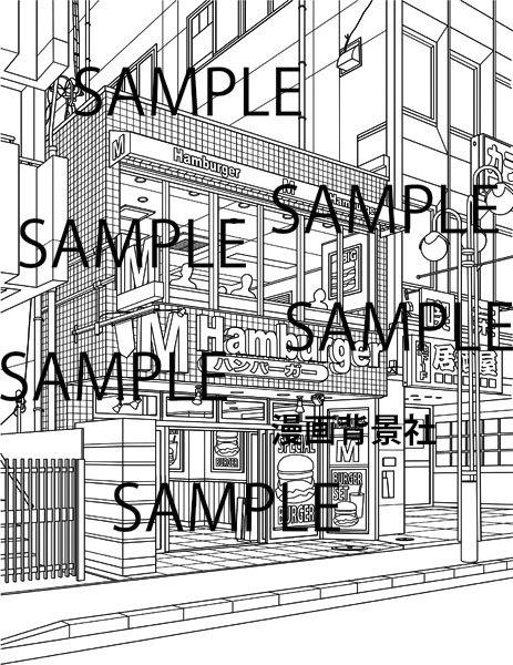 漫画背景素材ハンバーガー・ショップ(ファストフード店)イラスト