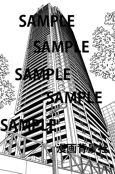 漫画背景素材「高層マンション2」イラスト
