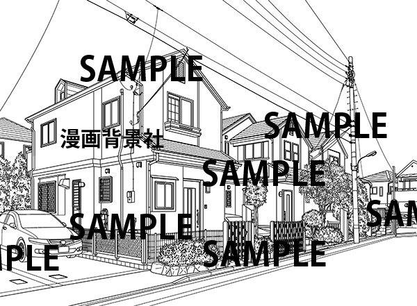 漫画背景素材「住宅街」イラスト