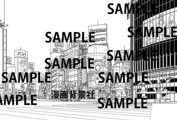 漫画背景素材「渋谷駅前交差点」 イラスト