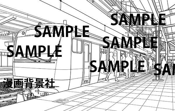 漫画背景素材「駅のホーム」イラスト