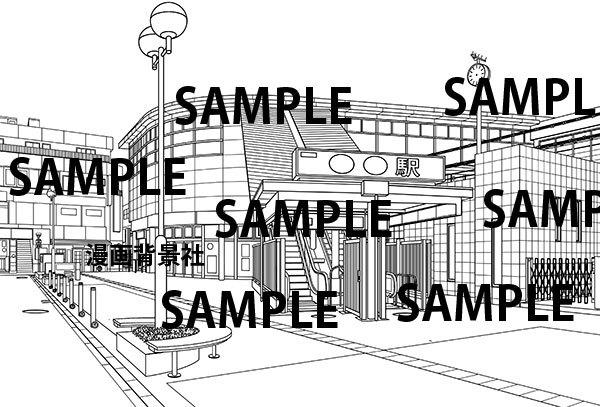 漫画背景素材「駅舎」 イラスト