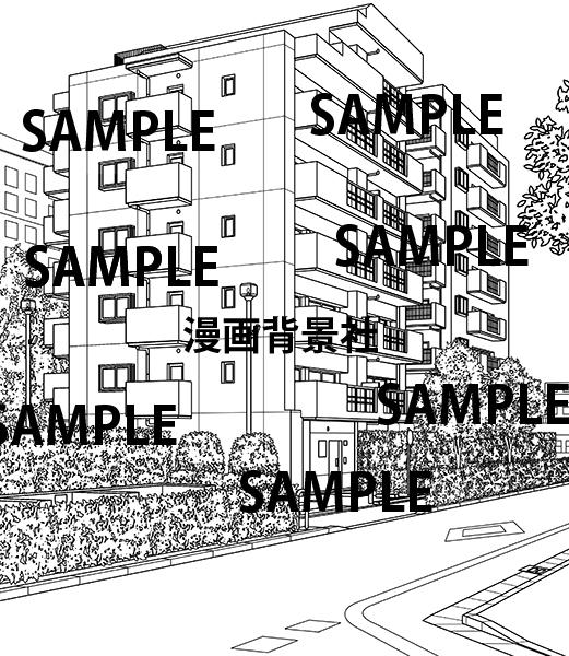 漫画背景素材「マンション」イラスト