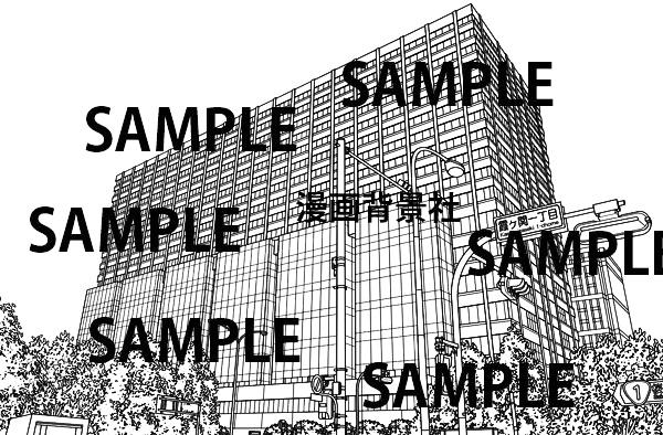 漫画背景素材「裁判所(東京高等裁判所)」イラスト