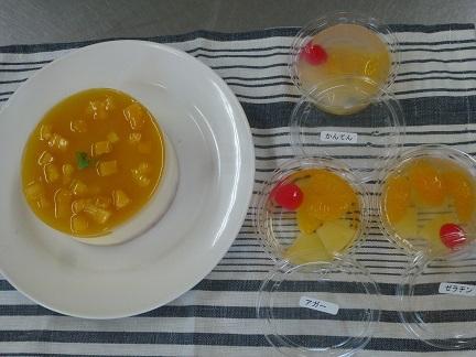 マンゴームースケーキとフルーツゼリー