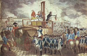 斬首後、革命派によって民衆に示されるルイ16世の首