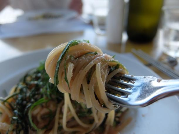 明太子と大葉と青ねぎのスパゲッティ