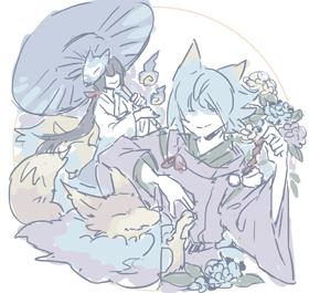 雨の中の狐たち