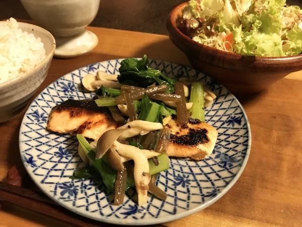 May17_山菜のせ焼き鮭