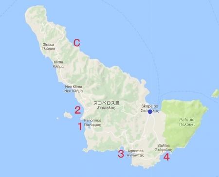 スコペロス島のビーチ地図