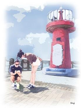 灯台の前で写真の打ち合わせ-1