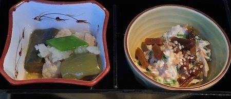 国内線ファーストクラス 夕食 小鉢