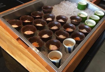 ザ・ダイニング万彩の朝食ブッフェ 温泉卵・豆腐