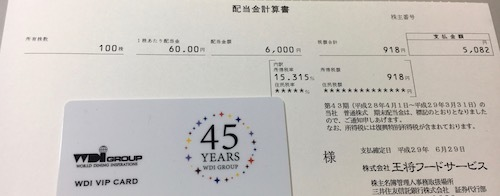 王将フードサービス 2017年3月期 期末配当金