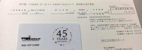 朝日ネット 2017年3月期 期末配当金