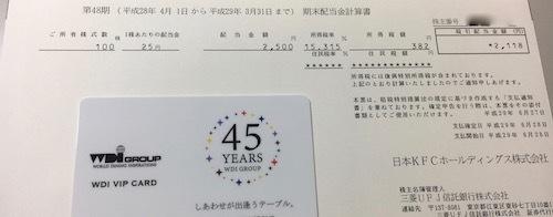 日本KFCホールディングス 2017年3月期 期末配当金