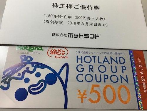 ホットランド 2017年6月権利確定分 株主優待券