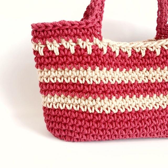 手編み雑貨 HanahanD コットンのハンドバッグ おでかけやお散歩に