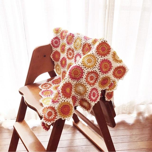 手編み雑貨 HanahanD ラグマットひざかけブランケット 冬のモチーフ繋ぎ