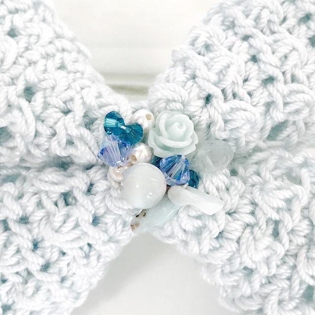 手編み雑貨 HanahanD レースリボンとビジューのヘアゴム
