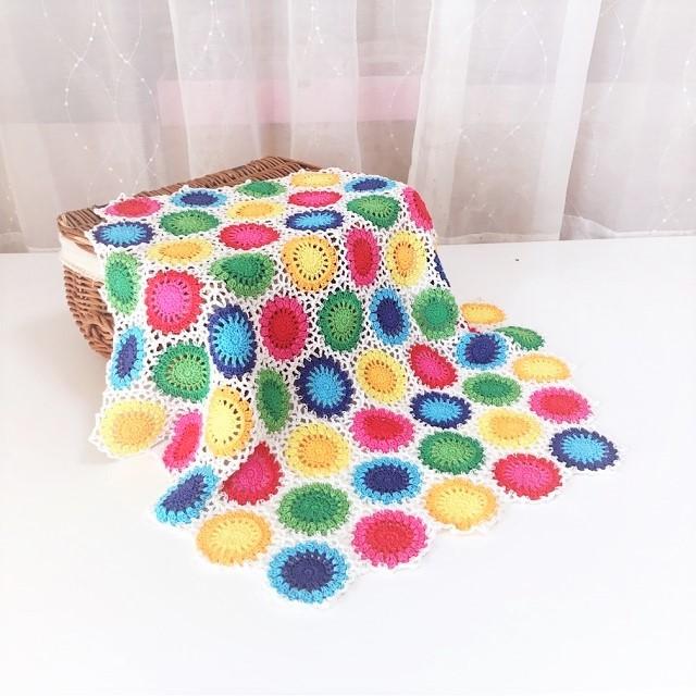 手編み雑貨 HanahanD カラフルコットンラグマット ひざ掛けブランケット 夏のモチーフ繋ぎ