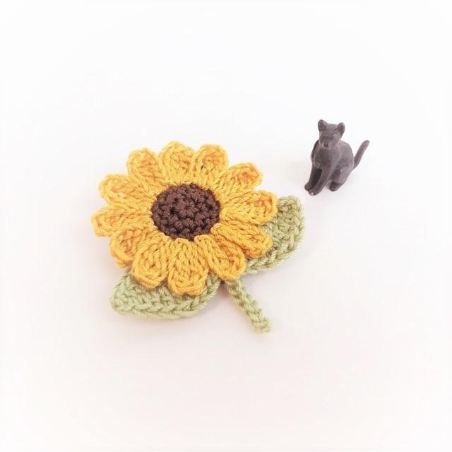 手編み雑貨 HanahanD ひまわりのブローチ 手編み レース