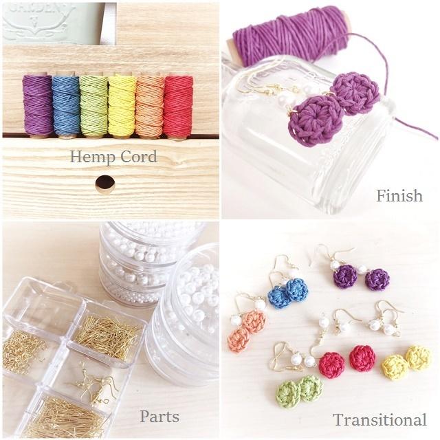 手編み雑貨 HanahanD ヘンプの手編みフックピアス ゴールド