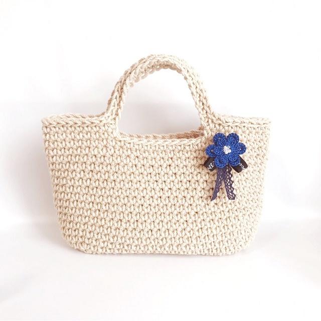 手編み雑貨 HanahanD 秋色花のブローチ レースとリボン