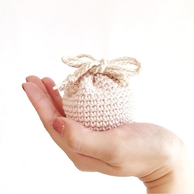 手編み雑貨 HanahanD オーガニックコットンの手編みミニ巾着袋